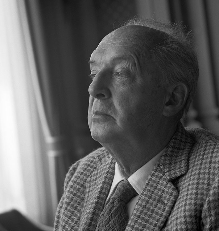 Russian-American novelist Vladimir Nabokov (1899-1977) photographed for Esquire magazine in Montreux, Switerzland, 1971.